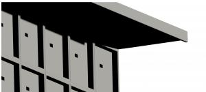 Pensilina con aggetto maggiorato per loculi cimiteriali